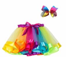 Rainbow Tutu & Bow For Baby Toddler Infant Girl Photo Prop