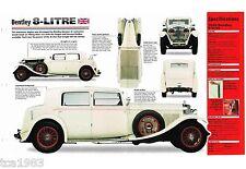 1930 / 1931 Bentley 8-LITRE SPEC SHEET/Brochure/Catalog, Liter