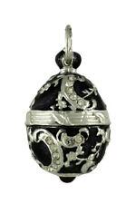 Russian Faberge Silver egg Pendant Black w/silver decor w/stones .925 Sterling