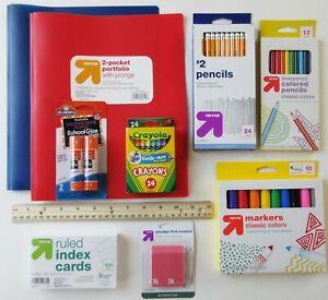 Grades 1 to 3 School Supplies Bundle Crayons Markers Pencils Glue Sticks Folders