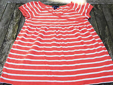 GAP Girls 100% Cotton Orange & White Striped Top.  Age 10-11