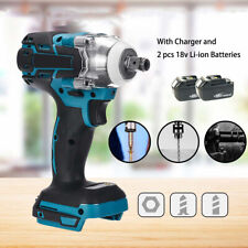 18V Rechargeable Cordless Electric Impact Wrench Rattle Nut Gun with 2 batteries
