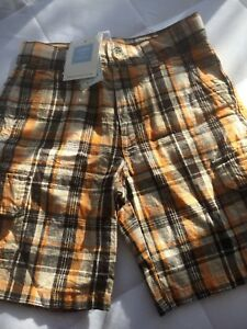Janie And Jack Boys Natural Safari Lion NWT Plaid Shorts 3T Orange Brown Beige