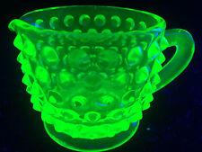 Green Vaseline glass Hobnail pattern tea Pitcher / Uranium coffee creamer childs