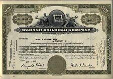 Wabash Railroad Stock Certificate Ohio