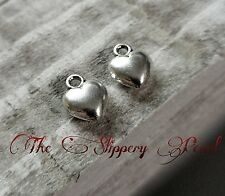 6 Puff Heart Charms Antique Silver Tone Love Pendants 2 Sided