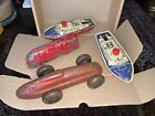 Tin plate clockwork collection - car train and 2x boats mettoy? need attention