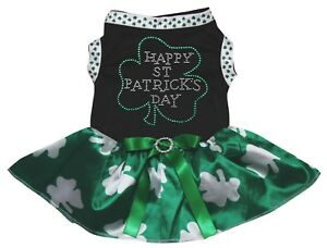 Happy St.Patrick's Day Clover Black Top Green Clover Tutu Pet Dog Puppy Dress