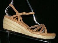 Clarks brown leather strappy ankle strap espadrille platform wedges 8.5M 6852