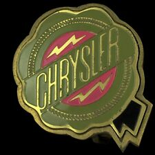Vtg Chrysler Automobile Car Co Fiat Badge Emblem Logo Brass 70s Belt Buckle