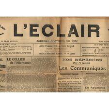 L'ÉCLAIR 27-1-1916 ATGÉ St ANDRÉ de VÉZINES GARBES PEYRELEAU et  GASC de VERRIÈR