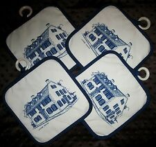4 Pot Holders Chase House Portsmouth New Hampshire NH Stevens Linen w/Loops NWOT
