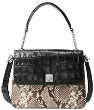 NWT❤️$528 MICHAEL KORS Python Leather Natalie LARGE Leather Satchel BLACK/SILVER