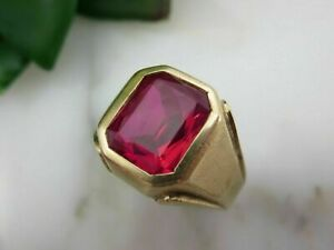 5 CT Emerald Cut Pink Sapphire Pinky Men's Engagement Ring 14k Yellow Gold Over