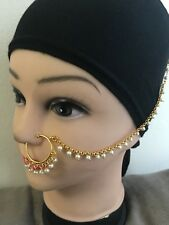 New Golden Pearl  Beaded Indian Bollywood Bridal Nose Ring Non Piercing