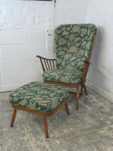 Ercol Windsor Evergreen Golden Dawn Finish High Back Armchair and Footstool
