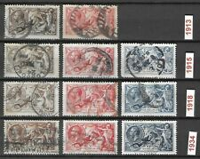 GREAT BRITAIN 1913-1934 Used Seahorse Lot of 11 Stamps Unchecked High CV
