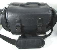 SONY DSLR SLR Camera Camcorder Bag Padded Black Faux Leather 6 Compartments