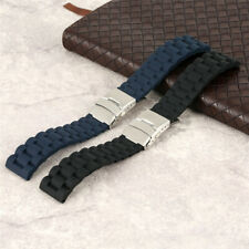 18/20/22/24mm Rubber Watch Band Silicone Strap Diver Rplacement Safety Clasp