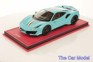 Ferrari 488 Pista Baby Blue w/ Italian Stripe - Ltd 1 pcs ONE OFF MR 1/18