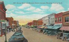 Second Street and Business District Looking South in Laramie WY Postcard