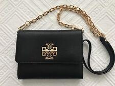 NWT Tory Burch Britten Mini Clutch Crossbody Black Leather Bag