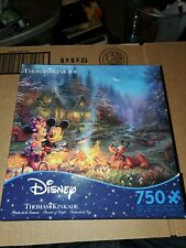 Disney Thomas Kinkade Ceaco 750 pc puzzle Mickey Minnie Sweatheart Campfire NEW
