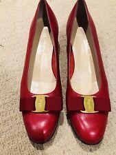 15e3f47f0161 Authentic Salvatore Ferragamo Bow Vara Red Leather Pumps Sz US 10.5 AA  UK 9