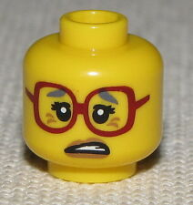 LEGO NEW MINIFGURE GRANDMA HEAD WITH GLASSES WORRIED FACE LOOK