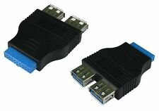 USB 3 to 20 pin Motherboard Header to 2 Female USB 3.0 Ports Adapter Converter