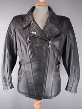 IXS VINTAGE/RETRO STYLE BLACK LEATHER BIKER JACKET 38 IN & REMOVABLE PROTECTORS