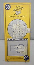 France - Michelin 1:200,000 Map - Brest & Quimper - Sheet 58 - 1956