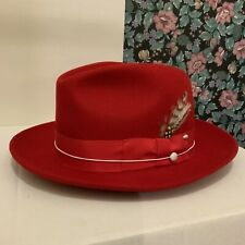 UNTOUCHABLE 100% Wool CAPAS DESIGN Hat Fedora, Color RED, NEW IN BOX