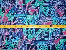 """10"""" by 40"""" Turquoise Blue Hot Pink Remnant Fish Palm Tree Guitar"""