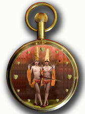 ZIEGFIELD FOLLIES HIGH HATS EROTIC 50 mm 17 JEWEL 1960s BRASS POCKET WATCH