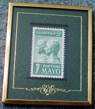 """1964 5-Cent Stamp DOCTORS MAYO """"Stamps & Stories"""" Framed Excellent Condition"""