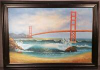 LARGE SAN FRANCISCO GOLDEN GATE BRIDGE CALIFORNIA PAINTING BY M. TAYLOR