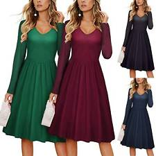 Women's V-Neck Swing Skater Dress Long Sleeve Formal Evening Party Midi Dresses