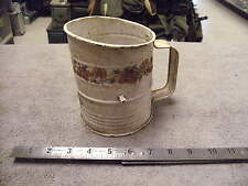 Vintage Brownwell's Measure Cup Flour Sifter, Wooden Handle Crank Type