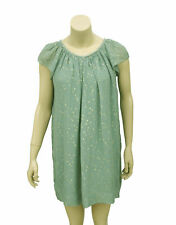 1528 New Bonpoint Kids Girls Dot Printed Gathers Cap Sleeves Green Dress 5-6 yrs