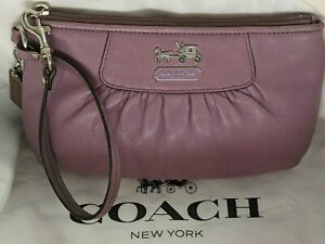 Coach Madison Smooth Light Purple Lavender Leather Pleated Clutch Wristlet 41978