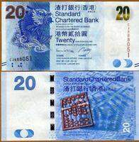 HONG KONG 20 DOLLARS 2013 Prefix CC - P 297c SCB NEW-UNC
