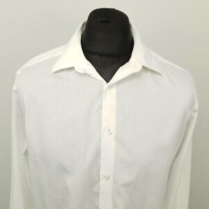 Calvin Klein Mens Shirt 16.5 32/33 (LARGE) White Slim Fit SHORTER SLEEVES