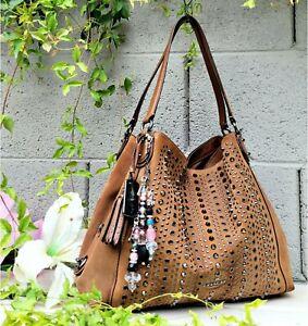 Coach 37161 all over studs edie Western leather Shoulder Bag purse hobo handbag