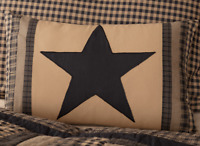 BLACK CHECK STAR Patch Pillow Khaki Primitive Rustic Country VHC Brands 14x22