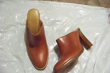 womens circa joan & david brown leather slide heels shoes size 7