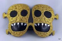 Brille Deluxe mit Totenkopf Maske Diamant Glimmer gold Fasching Karneval Party