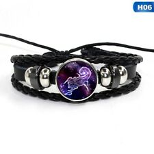 12 Zodiac Signs Constellations Glass Button Woven Leather Bracelet Jewelry Men