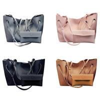 2pcs/set Women PU Leather Soft Shoulder Bag Tote Purse Handbag Crossbody Satchel