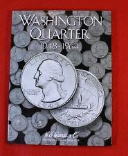 Partial Set of Washington Quarters 1948-1964 H.E Harris Folder Book 28 coins WQ3